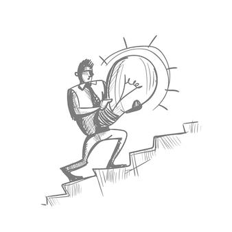 Salita della lampadina della tenuta di schizzo dell'uomo di affari di sopra di concetto creativo di idea dell'uomo d'affari della siluetta