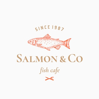 Salmon abstract sign, symbol o logo template con pesce disegnato a mano con tipografia retrò di classe.