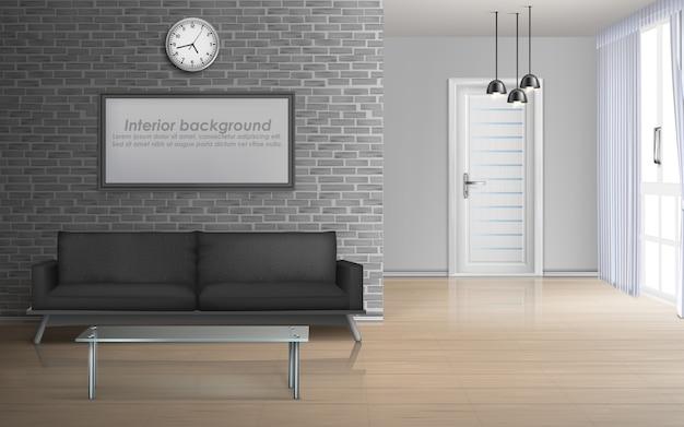 Salone della casa, interno dell'appartamento in modello minimalista mockup di vettore realistico 3d di stile
