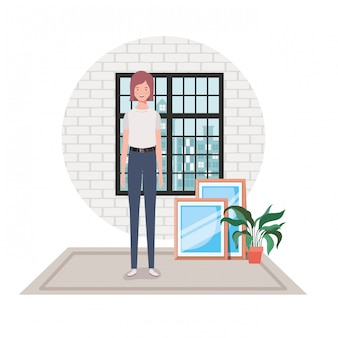 Salone della donna con la vista della città dalla finestra