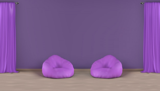Salotto di casa, zona salotto realistico vettore minimalista sfondo interno viola con parete vuota dietro due sedie sacchetto di fagioli sul pavimento laminato, tende pesanti finestra sull'illustrazione di barre metalliche