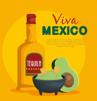 Salsa di avocado con cibo messicano tradizionale tequila