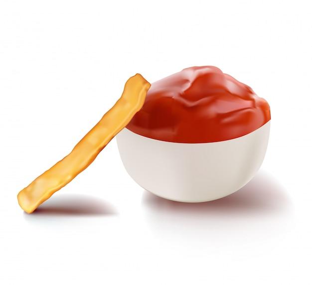 Salsa di ketchup rosso pomodoro e fetta di patate fritte.