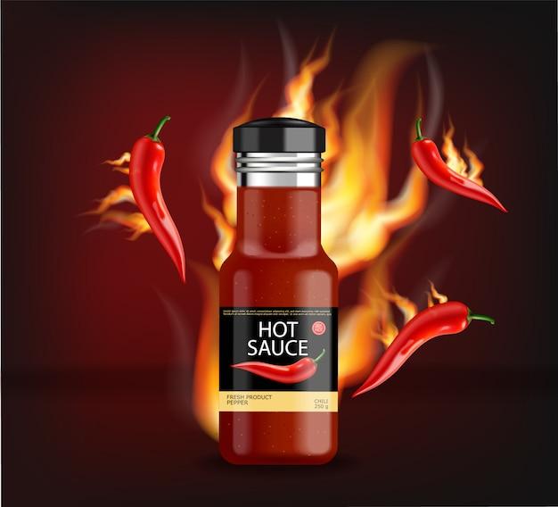 Salsa di peperoncino piccante in fiamme