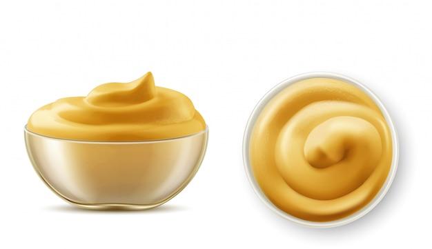 Salsa di senape in ciotola vista dall'alto e set vista laterale