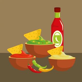 Salse piccanti messicane cibo tradizionale