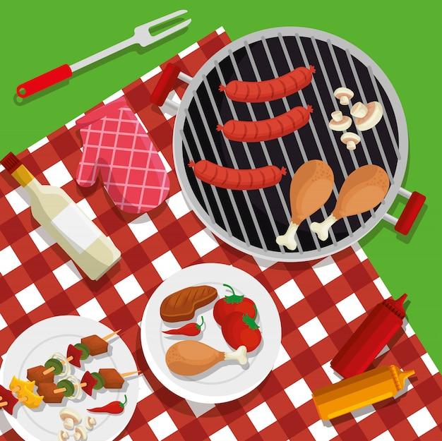 Salsicce con cosce e preparazione barbecue ai funghi