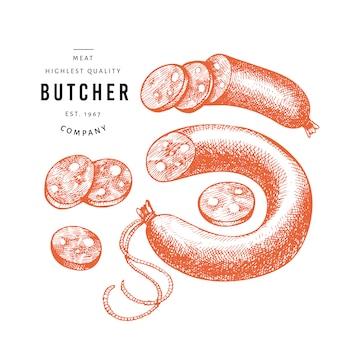 Salsicce disegnate a mano, fette di salsiccia, spezie ed erbe aromatiche.
