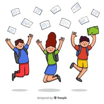 Salto degli studenti disegnati a mano felice