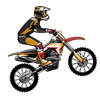 Salto del pilota di motocross