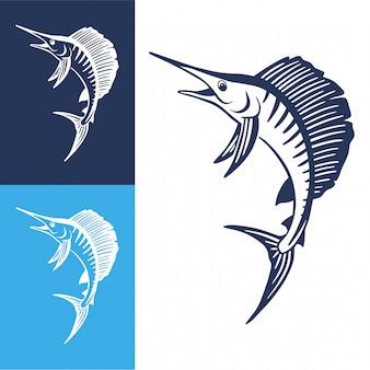 Salto di pesce marlin disegnato a mano.