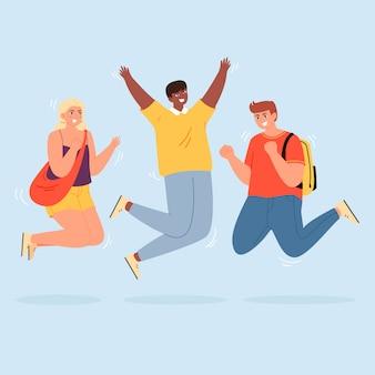 Salto felice all'illustrazione piana di vettore degli impiegati. vivaci dipendenti aziendali disegnano personaggi. giovani studenti, uomini e donne, vestiti con indifferenza, clipart isolato. diversi gruppi di persone.