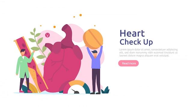 Salute del cuore, malattia, concetto di cardiologia con carattere. sintomi di ipertensione e misurazione della pressione sanguigna del colesterolo. servizi di controllo medico per visita medica per trapianto sanitario