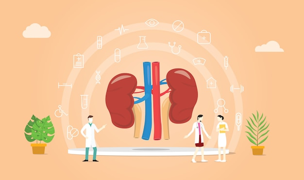 Salute del rene umano con il team medico