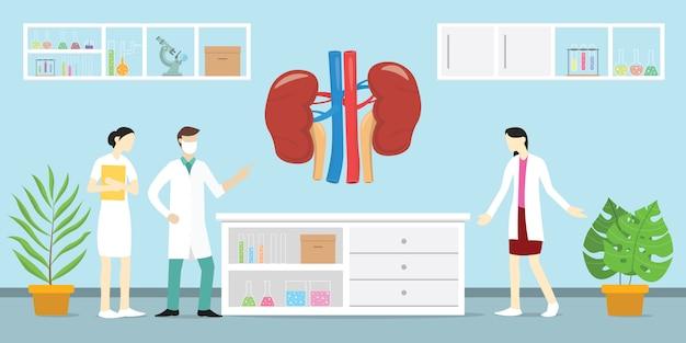 Salute di analisi di scienza di anatomia del rene umano sul laboratorio