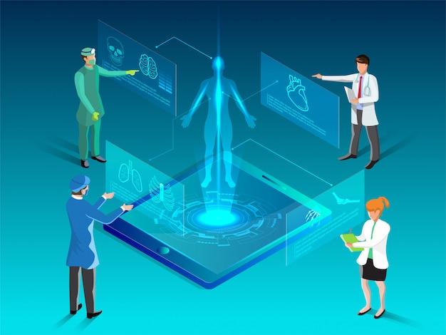 Salute isometrica e illustrazione futuristica medica