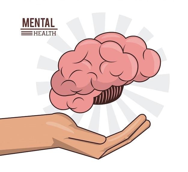 Salute mentale, mano con cervello umano prevenzione medica