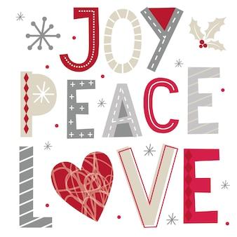 Saluti di natale con tipografia di gioia, pace e amore