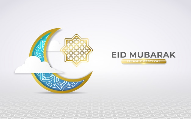 Saluti eid blu e oro mubarak con mezzaluna