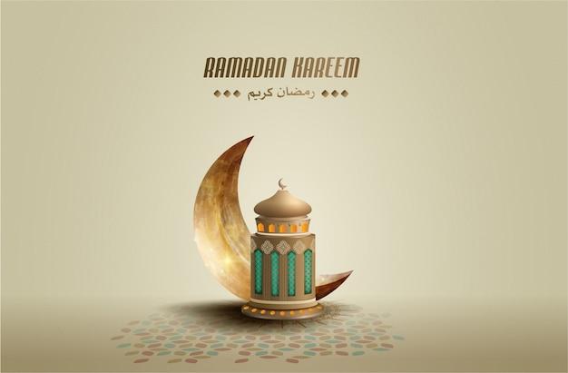 Saluti islamici ramadan kareem sfondo con falce di luna e lanterna