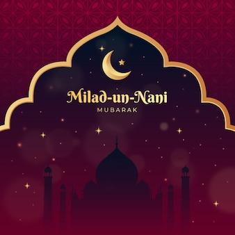Saluti milad un nabi con effetto bokeh moschea