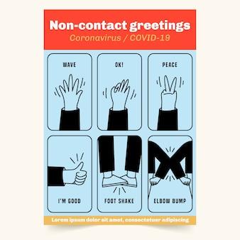 Saluti senza contatto in formato poster