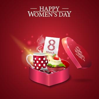 Saluto cartellino rosso per la festa della donna con regalo a forma di cuore
