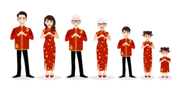 Saluto cinese del personaggio dei cartoni animati della grande famiglia nel festival cinese del nuovo anno