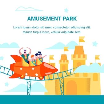 Saluto del parco di divertimenti che annuncia insegna piana