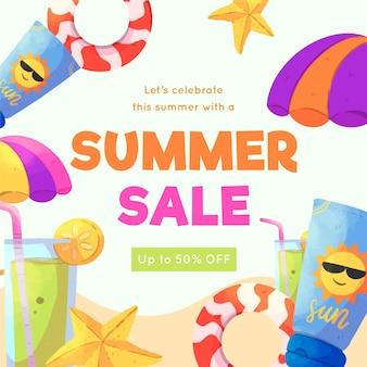 Saluto dell'acquerello estate vendita con spiaggia
