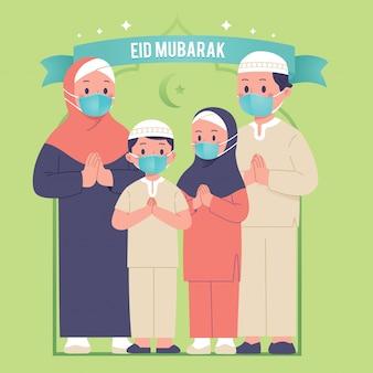 Saluto della famiglia eid mubarak usa la maschera facciale per l'epidemia