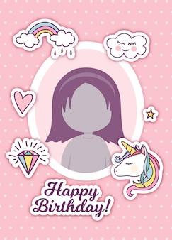 Saluto di compleanno con cornice e simpatici adesivi