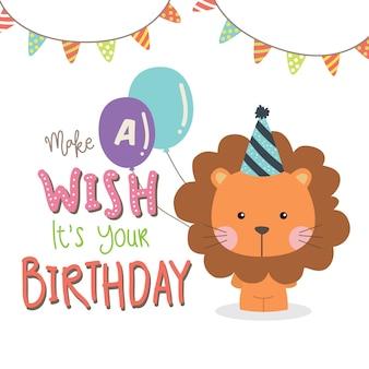 Saluto di compleanno con leone carino