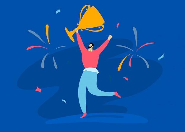 Saluto di conquista della tazza della tenuta alta della mano maschio del carattere sul blu, illustrazione di concetto. la persona di successo felice conquista il lavoro.