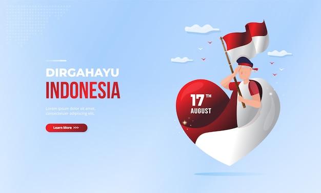 Saluto di dirgahayu indonesia per la festa nazionale indonesiana con l'illustrazione di simbolo di amore
