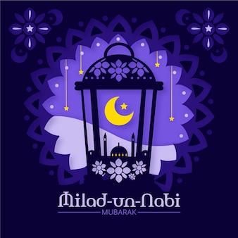Saluto di mawlid milad-un-nabi con moschea e luna