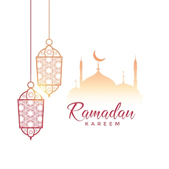 Saluto di Ramadan Kareem design con lampade a sospensione e moschea