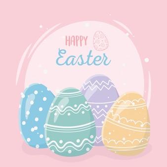 Saluto felice di giorno di pasqua, uova colorate decorative della cartolina d'auguri