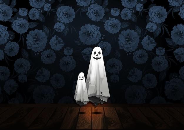 Saluto felice di halloween con il fantasma che galleggia nell'aria sul fondo del fiore
