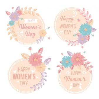 Saluto felice festa della donna 8 marzo set di etichette di fiori