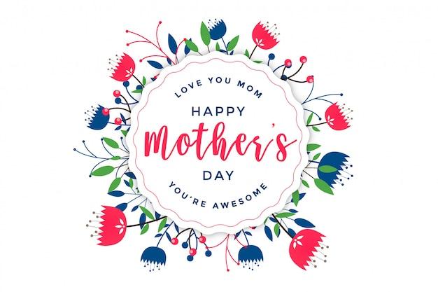 Saluto floreale elegante felice festa della mamma