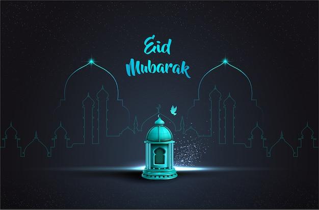 Saluto islamico eid mubarak card design con bella lanterna blu