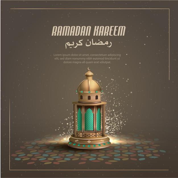 Saluto islamico ramadan kareem card design con bella lanterna