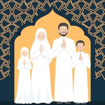 Saluto musulmano della famiglia con il modello arabo