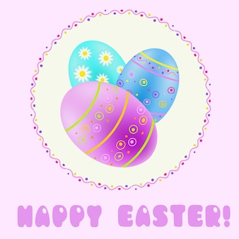 Saluto pasquale con turchese; blu; uova dipinte di viola