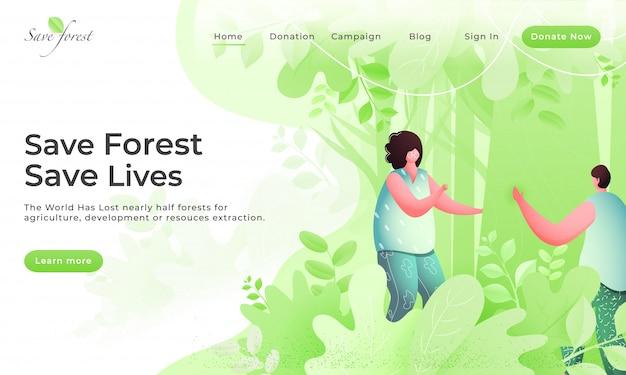 Salva foresta e salva vite pagina di destinazione con un ragazzo e una ragazza senza volto sulla natura verde