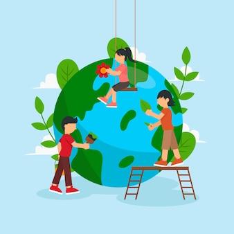 Salva il concetto del pianeta con le persone che si prendono cura della terra