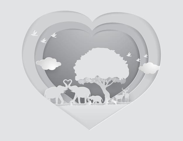 Salva il concetto di fauna selvatica. animali selvatici su erba grigia sullo sfondo del cuore, stile del mestiere di carta.