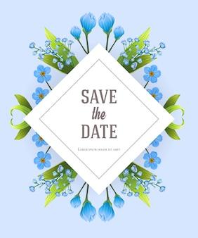 Salva il modello data con fiori blu primula. testo scritto a mano, calligrafia.