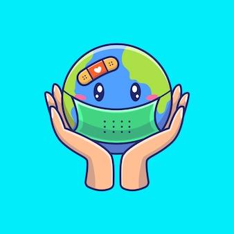 Salva il mondo dall'illustrazione del virus. personaggio dei cartoni animati di corona mascotte. concetto del mondo isolato